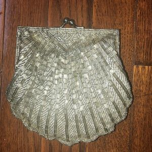 Handbags - Silver beaded clutch
